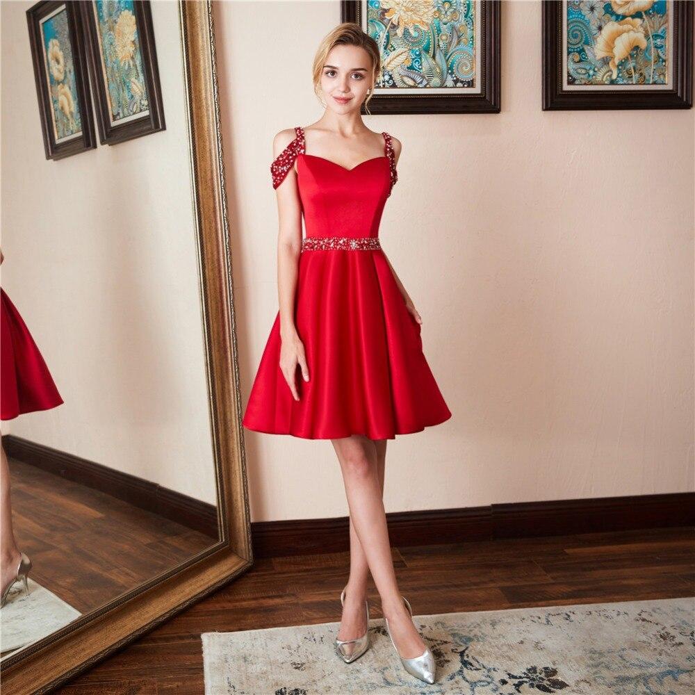 Vestidos Sexy rouge élégant genou longueur robes de bal 2019 nouvelle offre spéciale femmes perles une ligne soirée robe de soirée robe de sor ee
