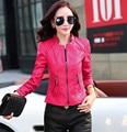 2016 chaquetas de la motocicleta chaqueta de cuero de las mujeres de Moda ropa de las mujeres más el tamaño 2xl patchwork nubuck rosa de las mujeres prendas de vestir exteriores