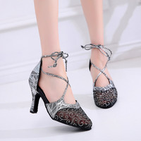 Woman Ballroom Latina Closed Dance Shoes for Ladies Gold Silver Grey Dance Sandals