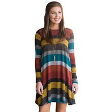 Autumn Winter Women Dresses S-XL Round Neck Casual Loose Stripes Patchwork Color Robe Dress Tunic Vestidos WS4033V