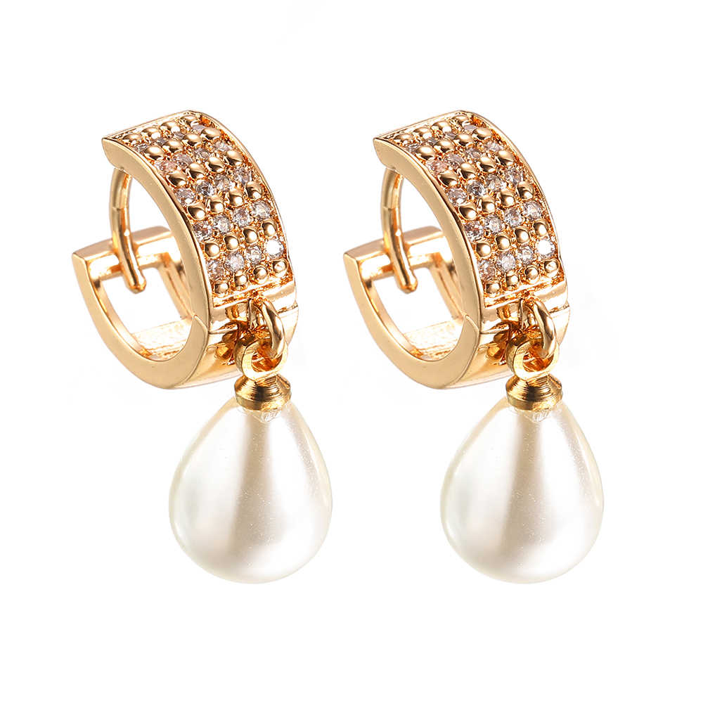 Square Imitation pearls Mosaic zircon Earrings For Women Gold Silver Luxury Charm Drop Earrings Fashion Wedding Party Jewellery