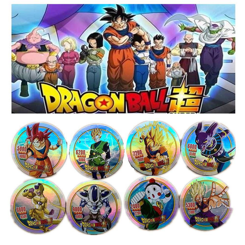 40 Pcs/lot Dragon Ball Super Goku Vegeta Action Figures Flashing Cards Round Paper Collection Card Kid Gift Toy