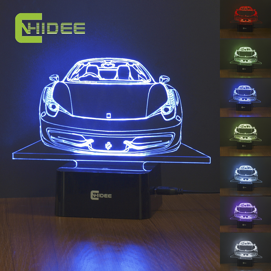 Aliexpress Buy 485Spider Car Modeling Creative LED Night Lamp Living Room Children Bedroom Decoration USB Table Desk NightLights 3d Lampara From