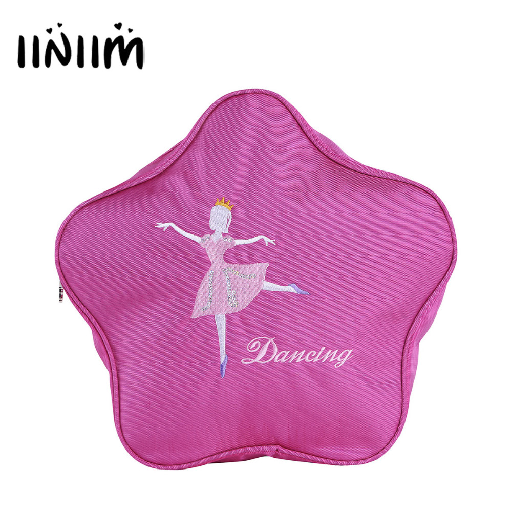 iiniim Brand Hot Pink Rose Ballet Bags For Girls Printed Child Backpack Dance Ballerina Kids Bags Ballet Princess Dance Bags