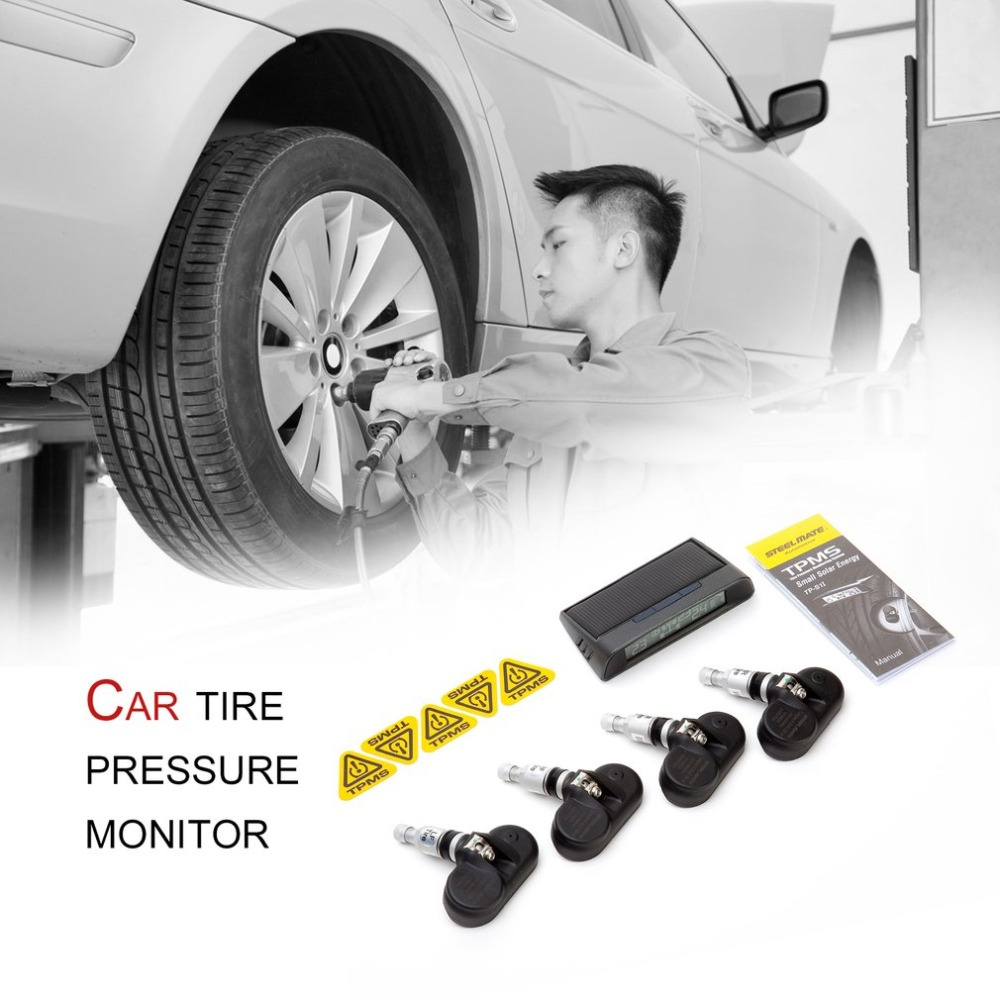 STEEL MATE TP-S11 Solar TPMS Wireless Real-time Display Tire Pressure Monitor System Adjustable Value Low Power Consumption solar energy car tpms with 4 internal sensors tire pressure monitor temperature system real time digital display wireless alarm