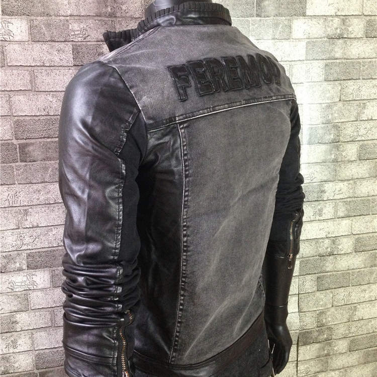 Warm Winter Mens Denim Fur Lined Jacket Leather Sleeves Embroidery