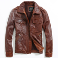 2015 Nuevos hombres de la Solapa de la Chaqueta de párrafo Corto chaqueta de La Motocicleta chaquetas de cuero de piel de Vaca