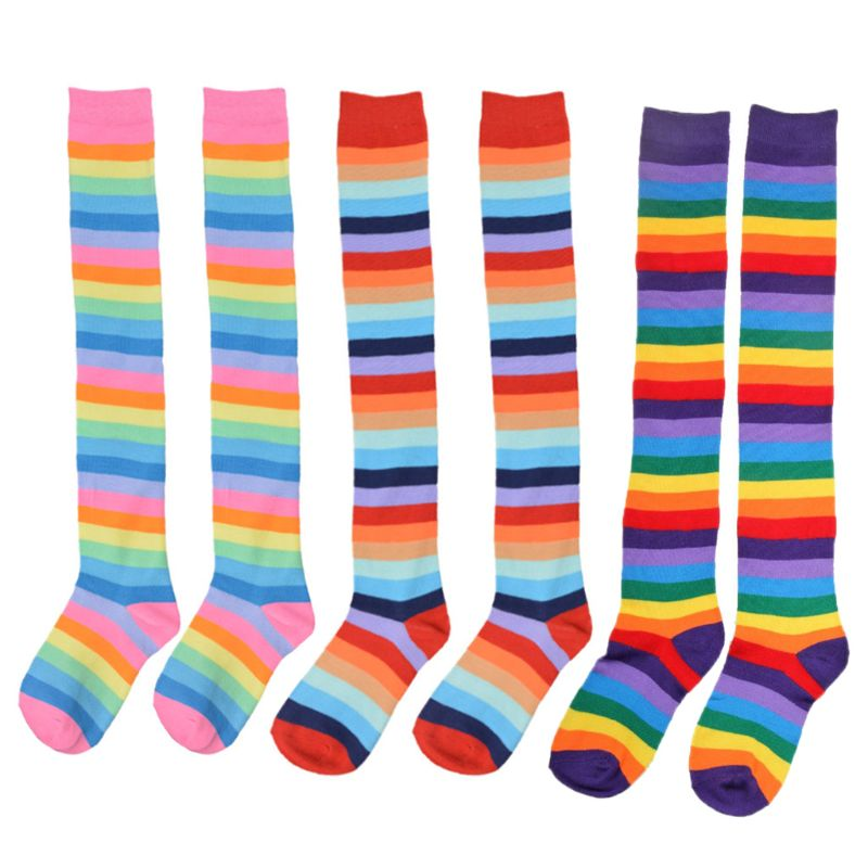 01793d5fe New Ladies Bright Neon Coloured Over Knee High Rainbow Socks Fancy Cotton  Dress Clothes