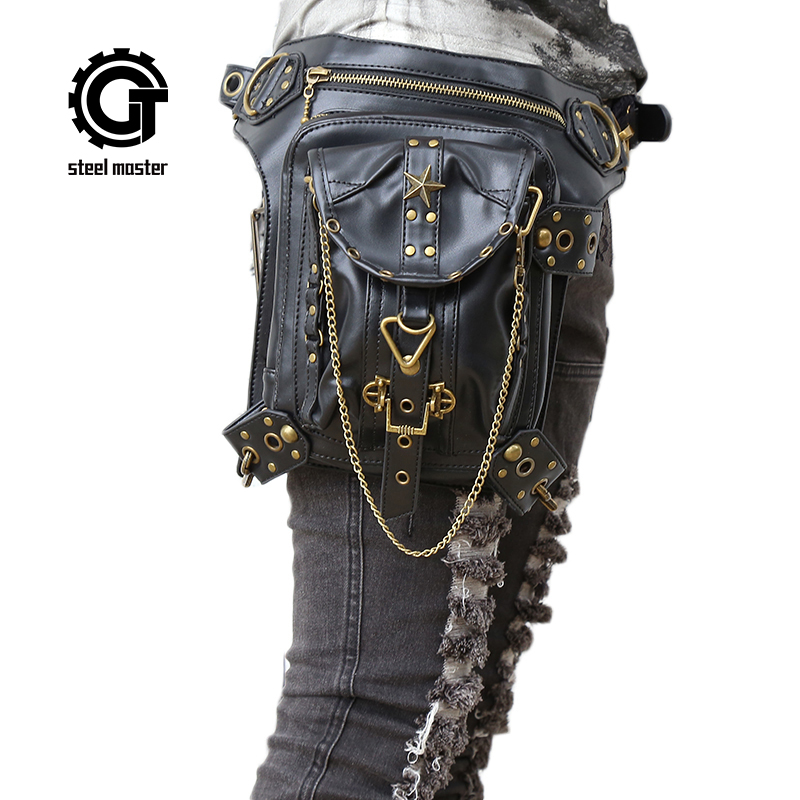 Womens Steampunk Bags Gothic Messenger Handbag Shoulder Bag Vintage Fashion Retro Rock Waist Pack Small Leg