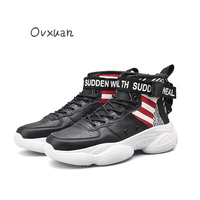 Red White Stripe Strap Buckle High Sneakers Men Hip Hop Runway Trainers Designer Shoes Male Luxury Creepers Shoes Flats Footwear