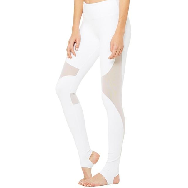 AyoPanda Femmes Maille Patchwork Leggings Taille Haute Pantalon de Yoga  Blanc Respirant Polyester Pantalon De Sport c9a6b023fb6