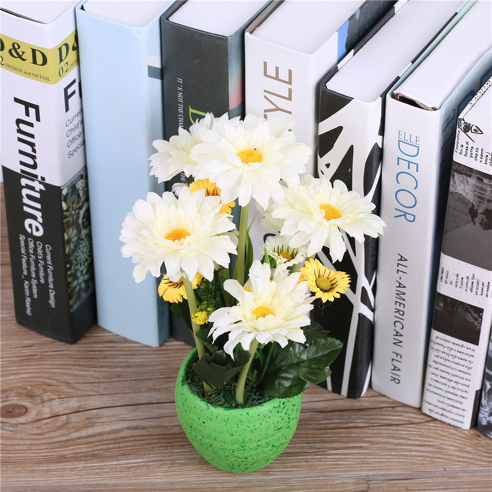 Silk gerbera daisy flower arrangementsvase artificial african silk gerbera daisy flower arrangementsvase artificial african chrysanthemum flower basket for wedding party home decorations in artificial dried flowers reviewsmspy