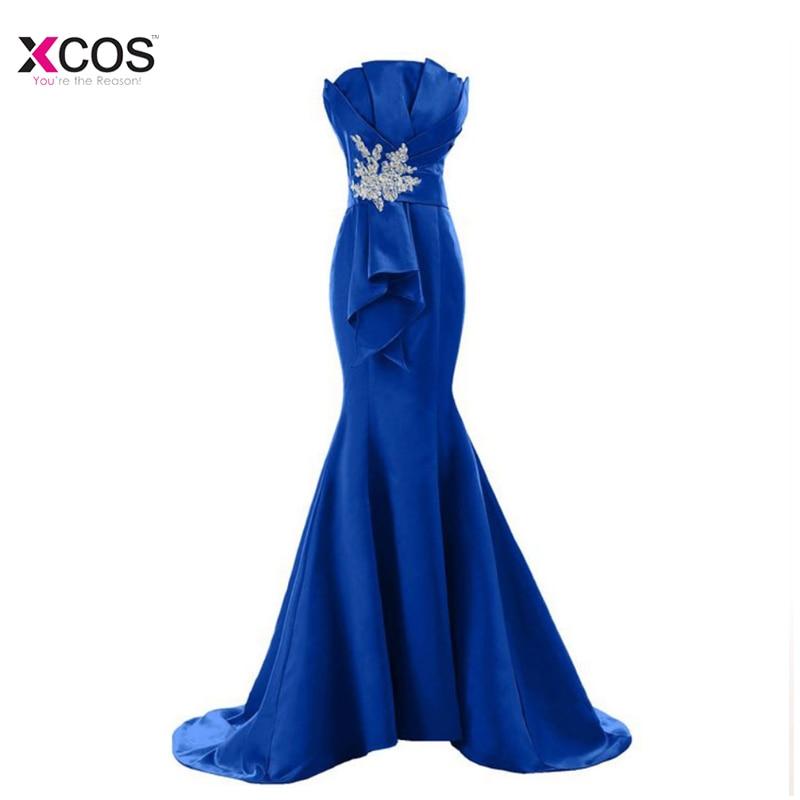 Royal Blue Mermaid   Evening     Dresses   Long 2018 Elegant Satin Lace Applique Beads Women   Dresses     Evening   Party Prom