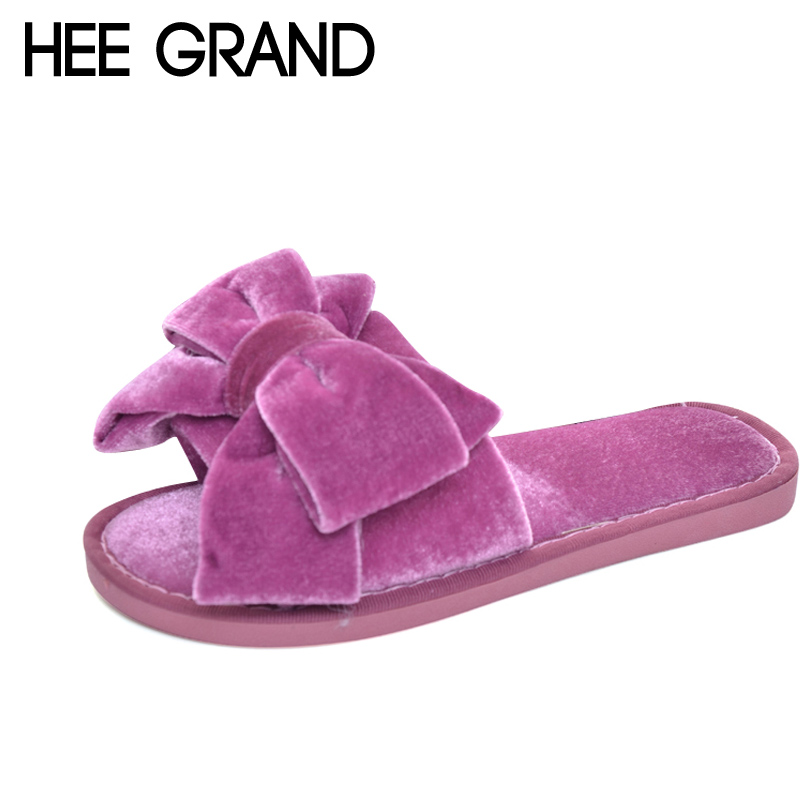 HEE GRAND 2017 Bowtie Slippers Platform Sweet Beach Slides Summer Casual Flats Shoes Woman Slip On Creepers XWZ4346 hee grand summer gladiator sandals 2017 new beach platform shoes woman slip on flats creepers casual women shoes xwz3346