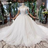 HTL467 like white wedding dresses long train off shoulder boat neck ball gown lace wedding gowns for bride vestidos de novia
