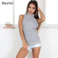 Women Sleeveless Turtleneck Sweater European Sexy Off Shoulder Backless Sweater Open Back Top Halter Neck Loose Knitted Jumper