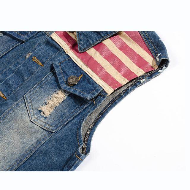 FALIZA Pleated Design Man Denim Vest America Flag Blue Jeans Waistcoat Sleeveless Cowboy Jeans Jacket Men Sleeveless MJ-102