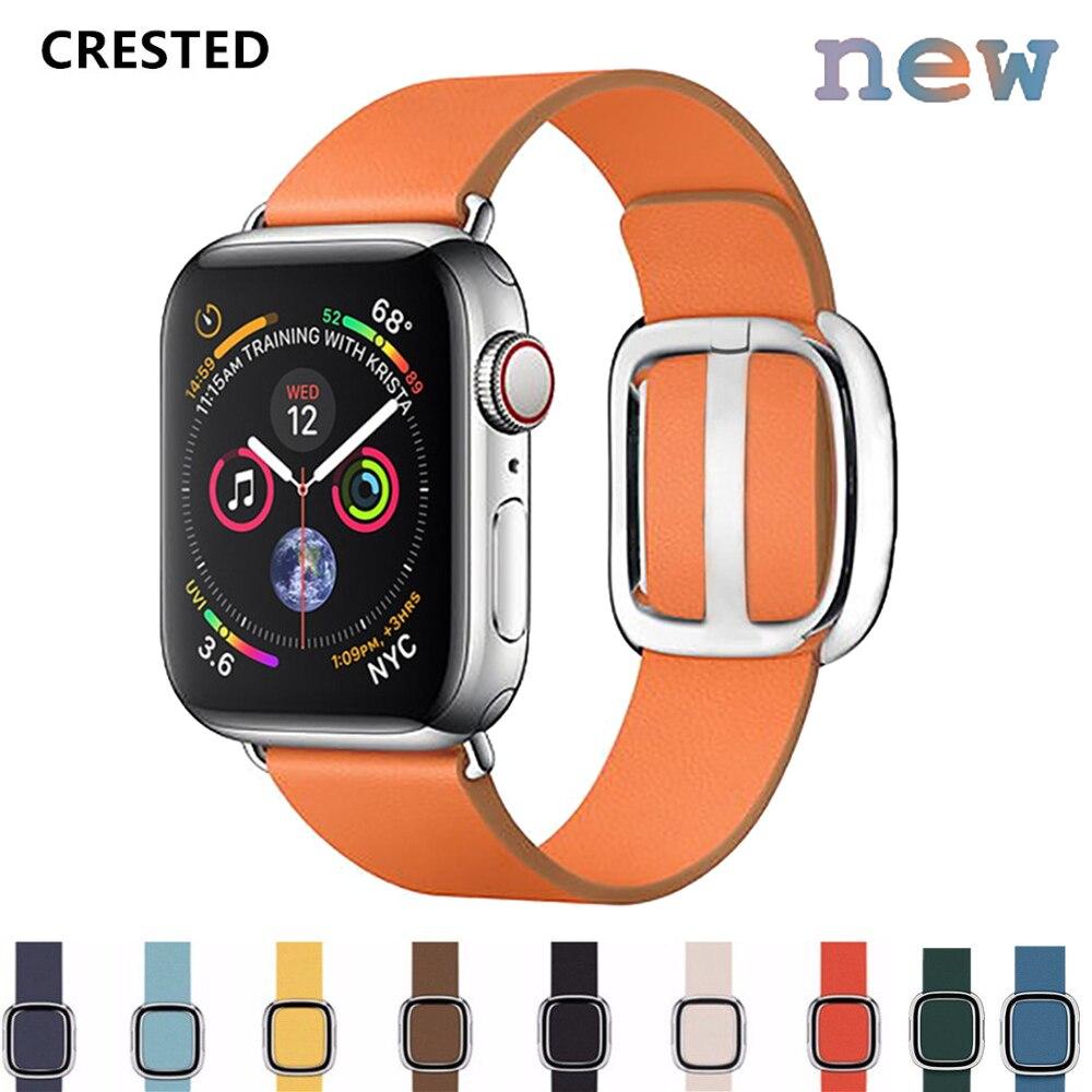 CRESTED Lederen band voor apple watch band 38mm/44mm iwatch 4/3 band 42mm/40mm moderne stijl lederen correa horloge pols-in Horlogebanden van Horloges op