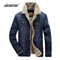 2017 Winter Men Patchwork Short Jacket Fashion Men Denim Jacket Jeans Coat Plus Velvet Outwear Coat Plus Size 4XL Windbreaker