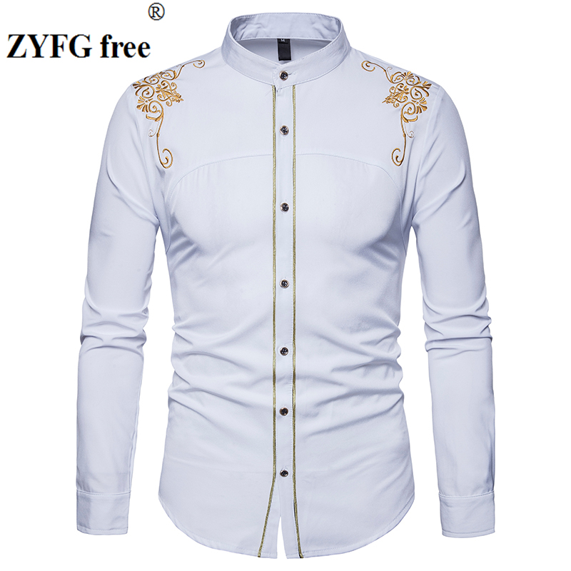 a667619b Men's Long Sleeved shirt New Arrivals Chinese style Fashion tops Male  embroidery pattern Cotton Casual clothes