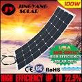 El Precio de fábrica Al Por Menor solar panel 100 w; panel solar semi flexible de 100 w; mono célula solar 125*125mm para 12 V cargador de batería