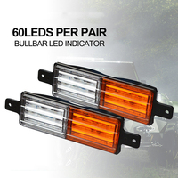 1 Pair 60 LED 2 Color Light Indicator Housing Sealed Bull Bar Light Front Direction Position