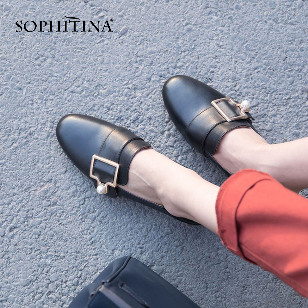 SOPHITINA High Quality Genuine Leather Flats Round Toe Solid Slip on Casual Women s Shoes Hot