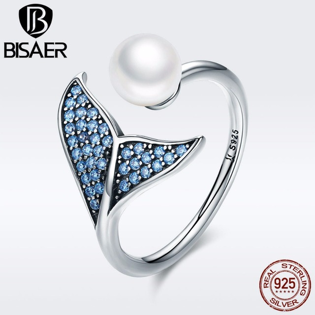 BISAER 100% 925 Sterling Silver Female Mermaid Tail Adjustable Finger Rings for