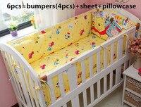 2017! 6PCS Baby Crib Liner Baby Crib Bedding Set (bumpers+sheet+pillow cover)