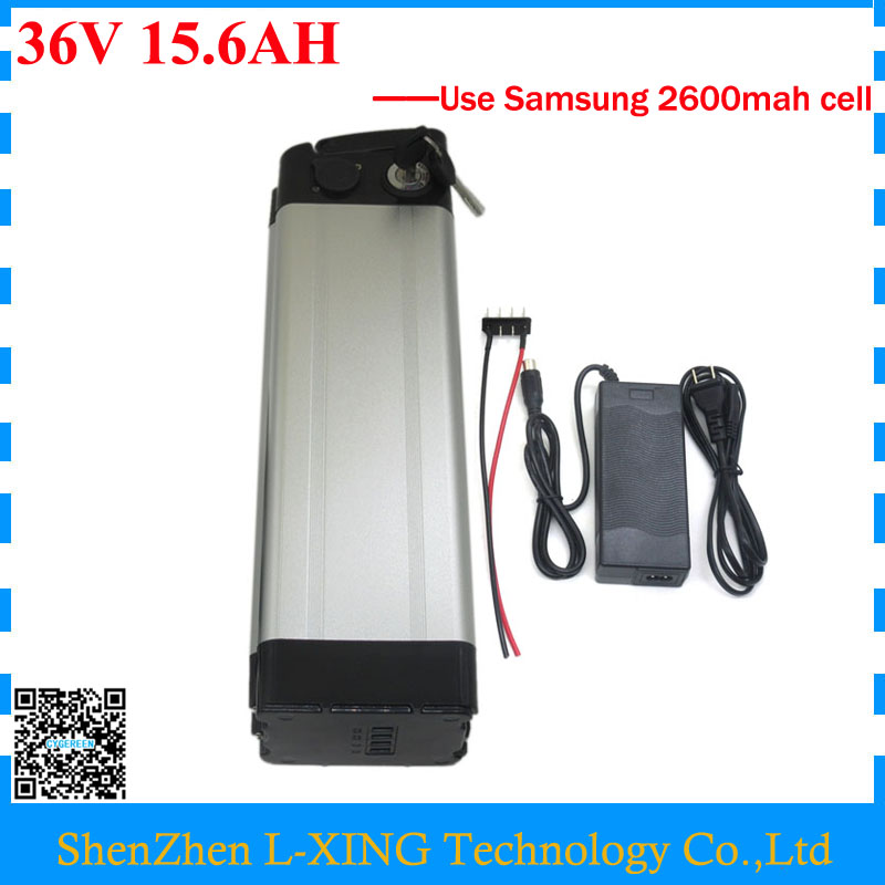 Free customs fee 500W 36V 15.6AH Battery 36 V silver fish battery 15.6AH 16AH lithium battery use Samsung 2600mah cell free customs fee 36v 25ah battery 1000w 36 v 25ah lithium battery pack with tail light use 2500mah 18650 cell 30a bms 2a charger