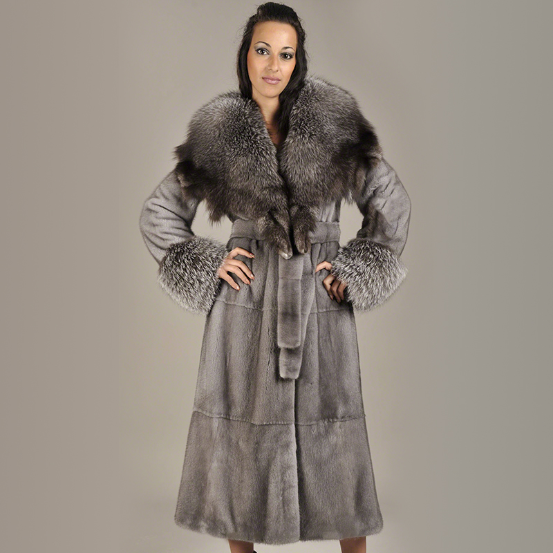 2019 BFFUR Women Natural Mink Fur Coat Fox Fur Collar With Belt  Long Outfit Female Luxurious Real Mink Fur Coats Jacket