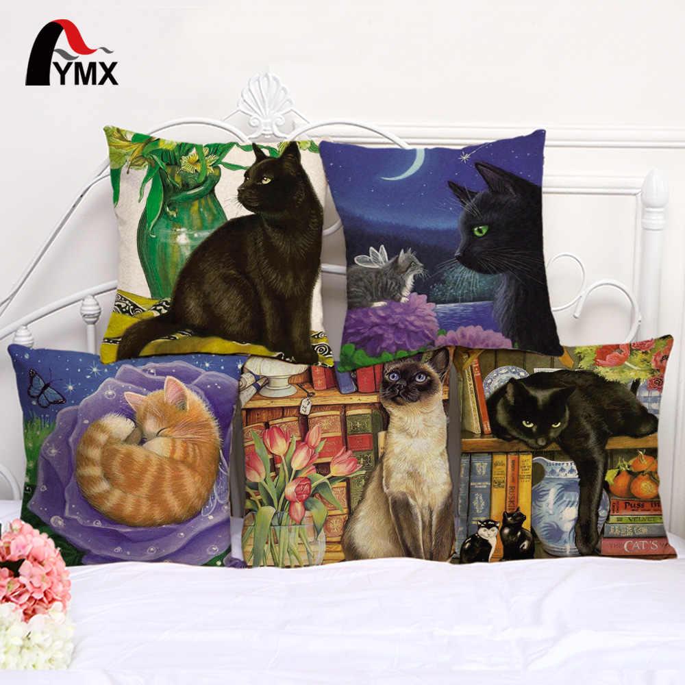 """18 """"Capa de Almofada Vintage Para Algodão e Linho Decorativa Fronha Animal Macio Bonito Casos Moda Travesseiro Gato Decoração de Casa"""