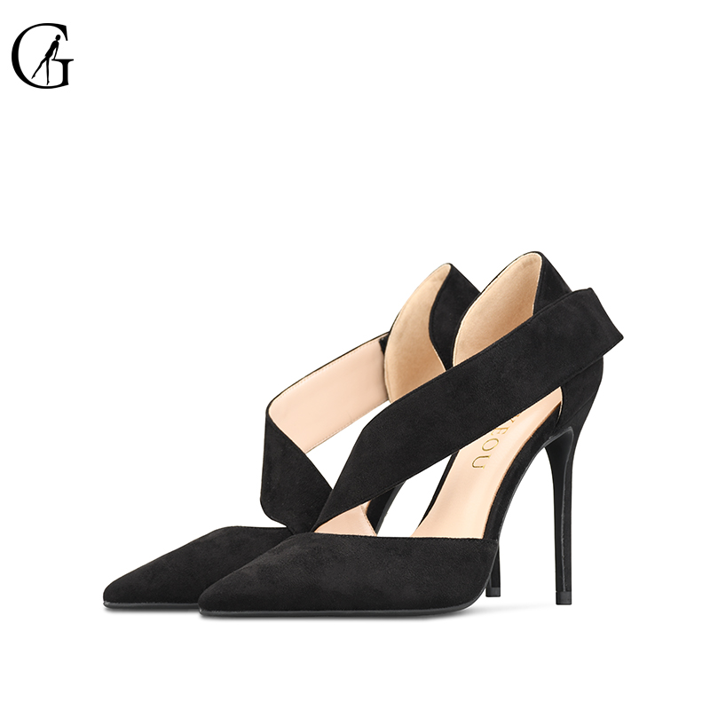 GOXEOU 2018 New Women shoes sandles High Heels Sexy Pointed Toe Flock Buckle Wedding Office Handmade Free Shipping size32-46