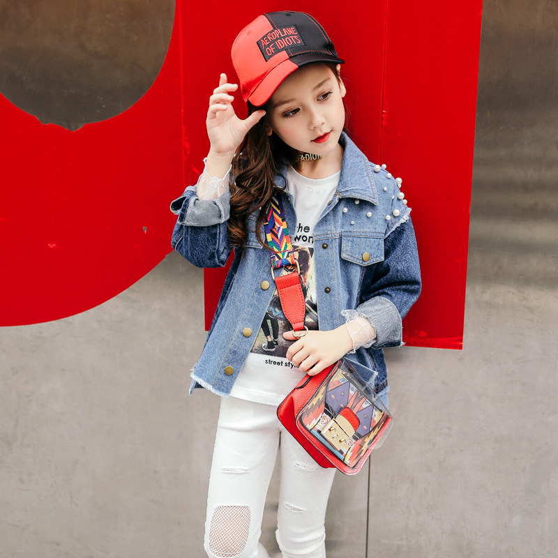 где купить 2018 Baby Girls Denim Jeans Jacket Broken Design Pearls Patchwork Style Fashion Clothes for Age4 5 6 7 8 9 10 11 12T Years Old по лучшей цене