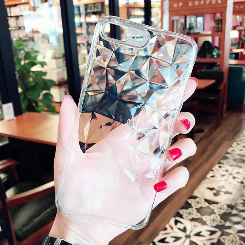ثلاثية الأبعاد الماس الملمس حقيبة لهاتف أي فون 6 6s 8 Plus X لينة غطاء الهاتف آيفون 7 5 5s XS ماكس XR شفاف رقيقة جدا فوندا
