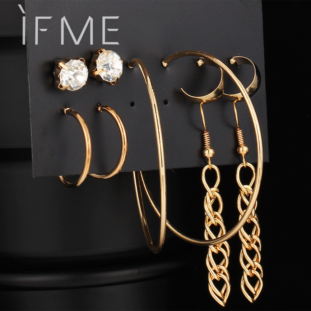 2017 Fashion New 5 Pairs Alloy Long Chain Earrings For Women Gold Color Crystal Stud Earrings Set Female Piercing jewelry Gift