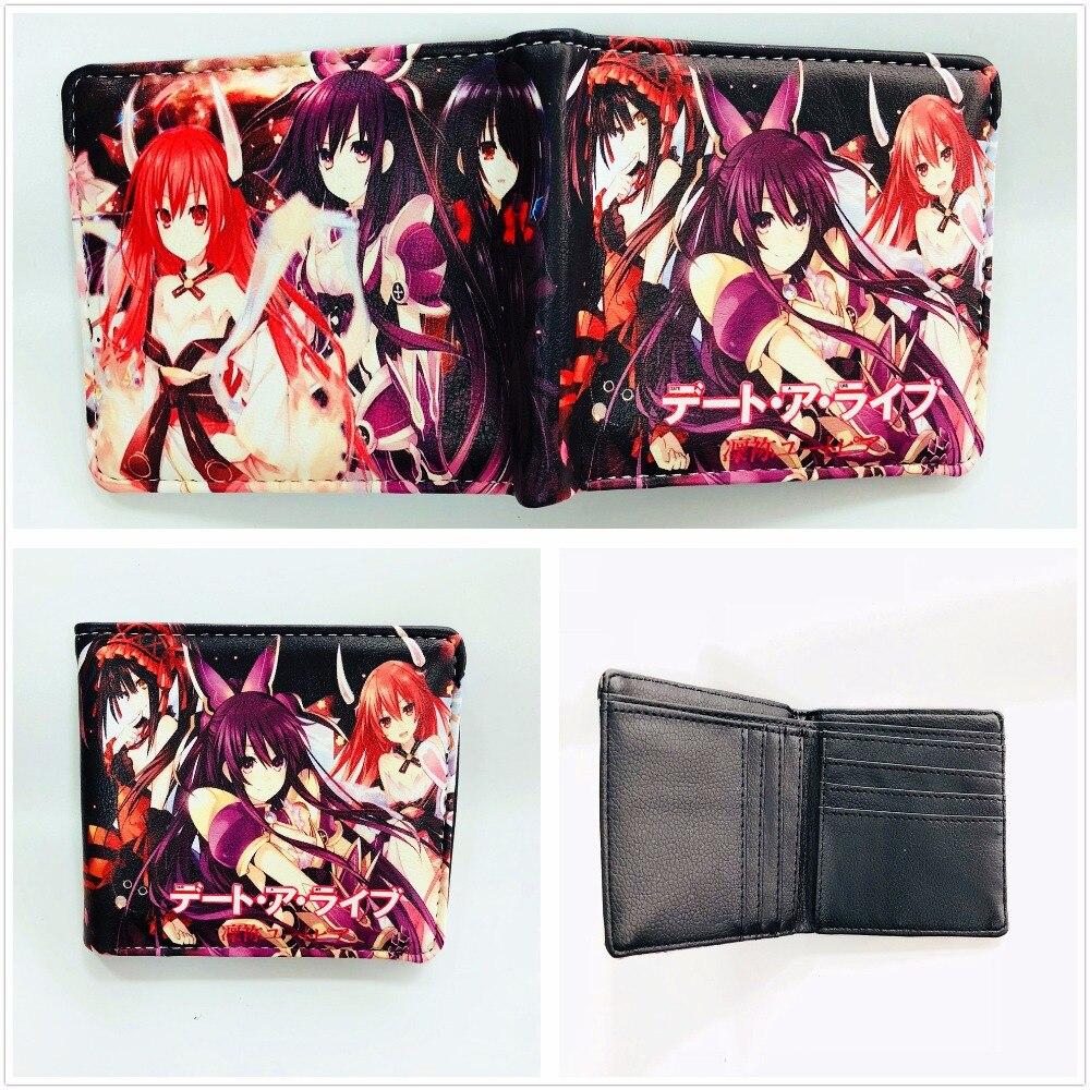 Japan anime cartoon DATE A LIVE wallet short PU leathe purse bi-fold credit card holder wallet W937J