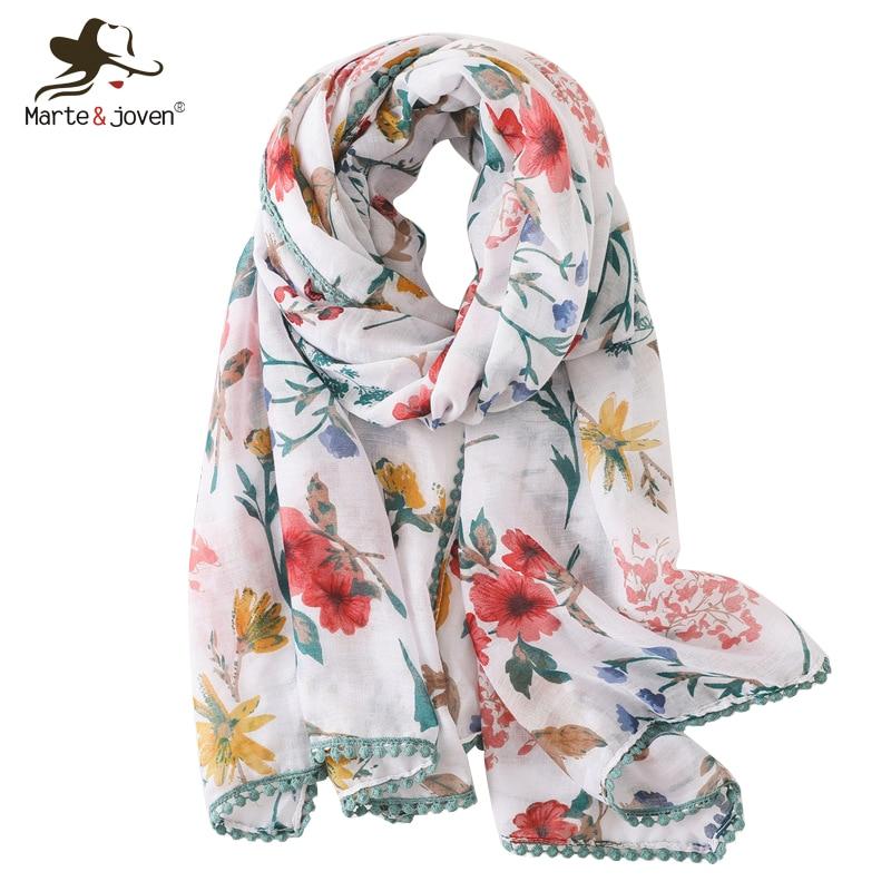 Marte&joven Colorful Floral Print Lace Fringes Voile White Scarf For Women Big Size Elegant Spring Autumn Warm Shawls Pashmina