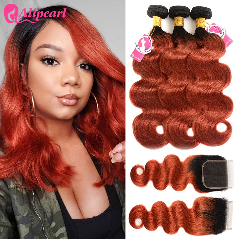 Hair Extensions & Wigs Ali Pearl 1b/350 Bundles With Closure Brazilian Hair Weave Bundles 1b/350 Body Wave 3 Bundles With Closure Remy Hair Extension Fancy Colours