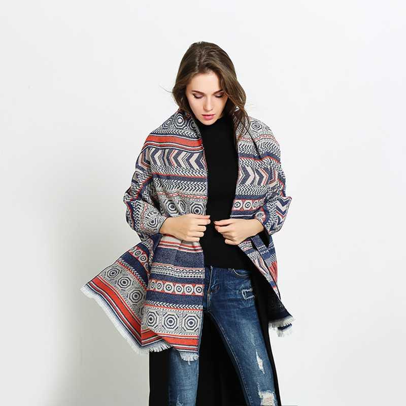 New Ethnic Vintage font b Tartan b font Foulard Luxury Brand Blanket Scarf Mujer Winter Long