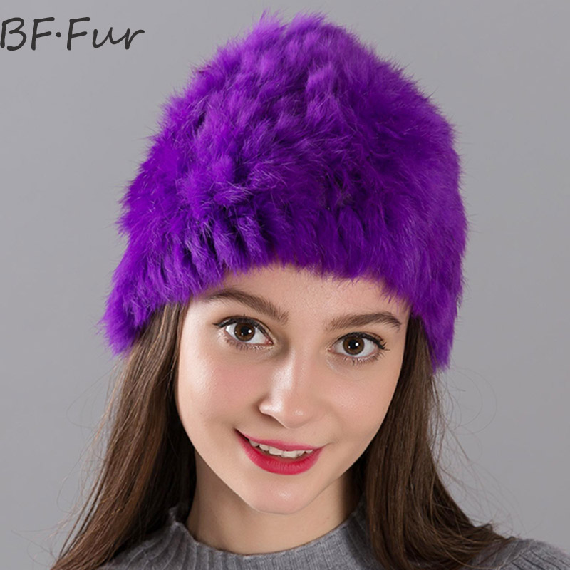 No stretch Real Rabbit Fur Beanie Hats For Women Winter Warm Casual Female Cap Knitted Skullies Adult Style Solid Color Gray adult beanie skullies rabbit fur ball shining warm knitted hat autumn winter hats for women