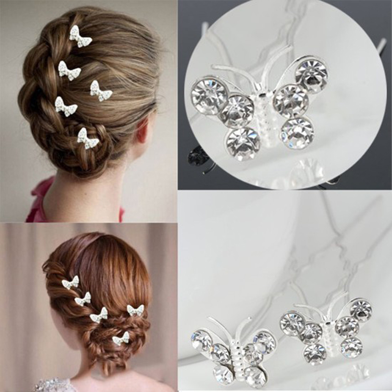 wholesale 20pcs lots wedding bridal crystal wedding butterfly hair pins clips bridesmaid in hair jewelry from jewelry accessories on aliexpress com
