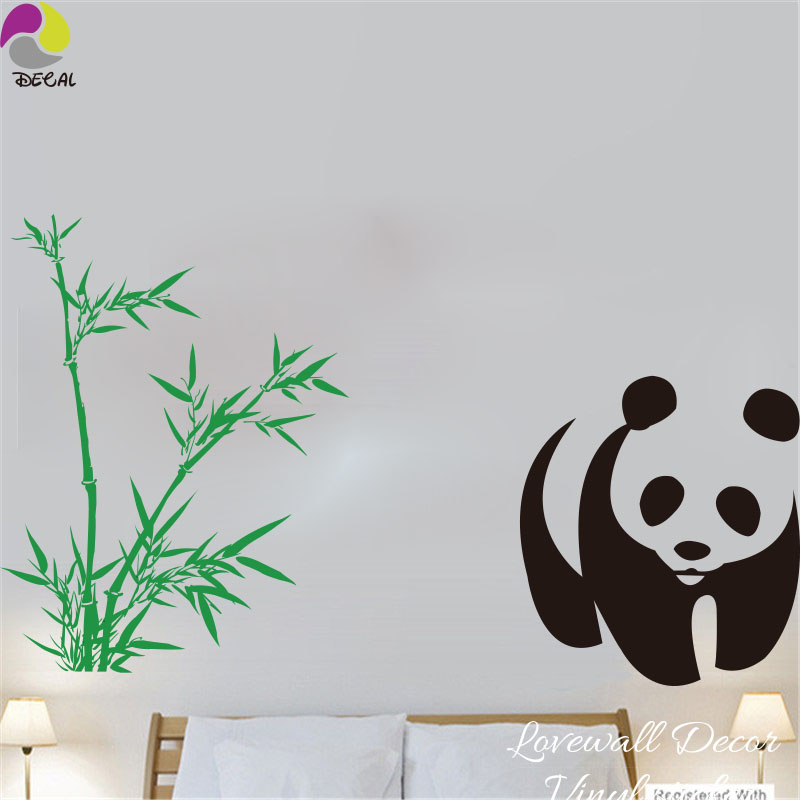 Us 1711 14 Offkartun Panda Bambu Stiker Dinding Ruang Tamu Kamar Tidur Lucu Panda Hewan Bambu Pohon Tanaman Dinding Decal Bayi Nursery Vinyl Art