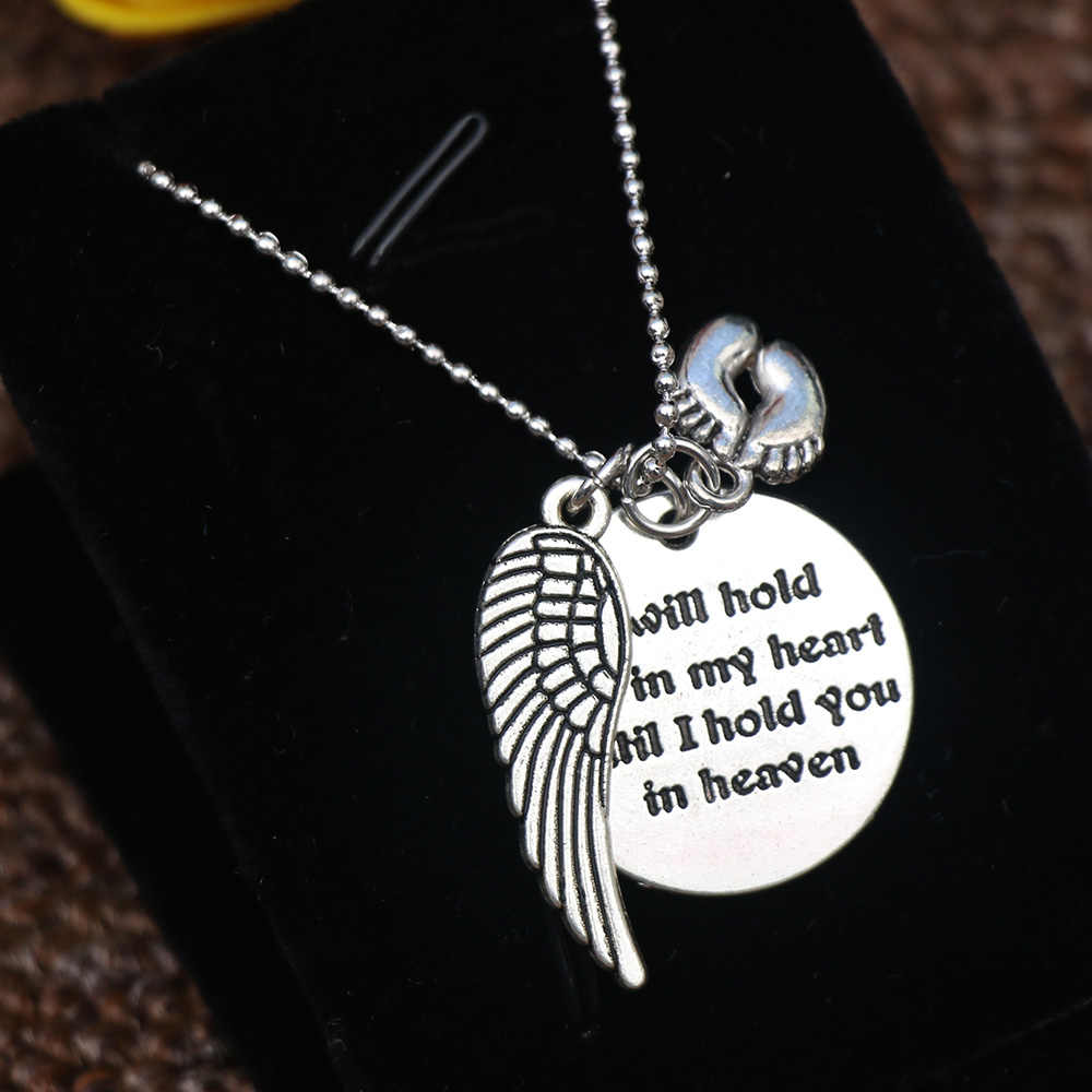 Mother I will hold You in my heart Baby Memorial Angel Footprint Necklace Loss Miscarriage Heaven Pendant