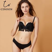 New Red Underwear Set Women Bra Push Up Brassiere Cotton Thick Black Gather Sexy Bra Panties Sets Embroidery Lace Lingerie Set