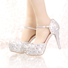 Silver Rhinestone Bridal Wedding Dress Shoes Ankle Straps Round Toe Bride Shoes Platform Formal Dress Shoes Prom Party Pumps