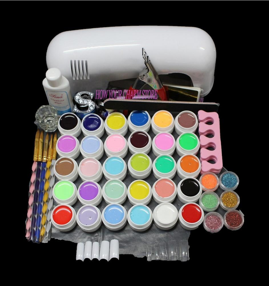 free shipping nail set manicure 9W UV White Lamp 36 Color Pure UV GEL Powder Acrylic Brush Nail Art Tool KIT akryl nail set pedicure manicure set uv gel nail kit pro full 9w uv lamp 30 color pure gel 5 sable acrylic brush nail art kit set