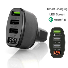 High Quality 4.2A QC 3.0 Quick Charger 3 Ports USB LED Display Car Charging Adapter Black/Orange Multi-function Car Charge bc12 3 ports usb car charger black