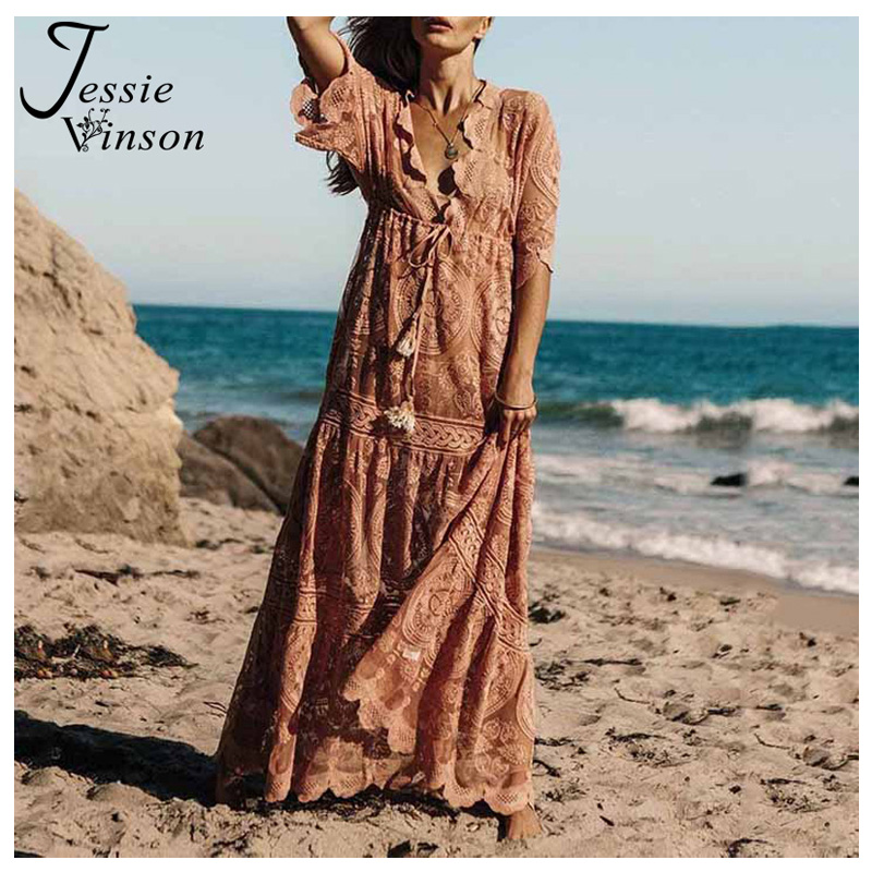 Jessie Vinson V neck Half Sleeve Embroidery Lace Long Maxi Dress Women Plus Size See Through