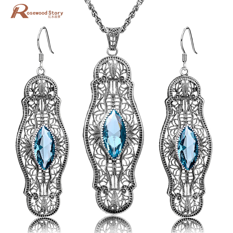 Fashion Blue Rhinestone Crystal Jewelry Sets Vintage Party Pendant&Earrings Real 925 Sterling Silver Fine Jewelry for Women все цены